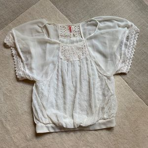 Free people Embroidered Lace Bell Sleeve Lace Top